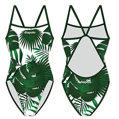Diapolo Palme mit dünnen Träger Professioneller Schwimmanzug Badeanzug Damen Figurbetonter Einteiler Schwimmbekleidung Badekleid Badesache Bademode ohne Bügel (22)