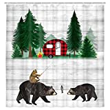 Cabin Bear Shower Curtain for Farmhouse Decor, Funny Rustic Lodge Woodland RV Wildlife Bear and Cat in Forest Camping Shower Curtain for Bathroom, Fabric Vintage Farm Wooden Bathroom Curtain, 69X70IN