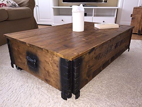 """Uncle Joe´s Couchtisch """"Roosevelt Field"""", Holz mit klappbarem Deckel, vintage, shabby chic, 100x65x30cm - 3"""