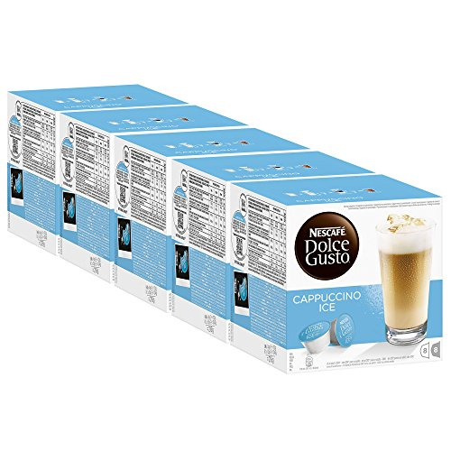 Nescafé Dolce Gusto Cappuccino Ice, Kaffee, Eiskaffee, Kaffeekapsel, 5er Pack, 5 x 16 Kapseln (40 Portionen)