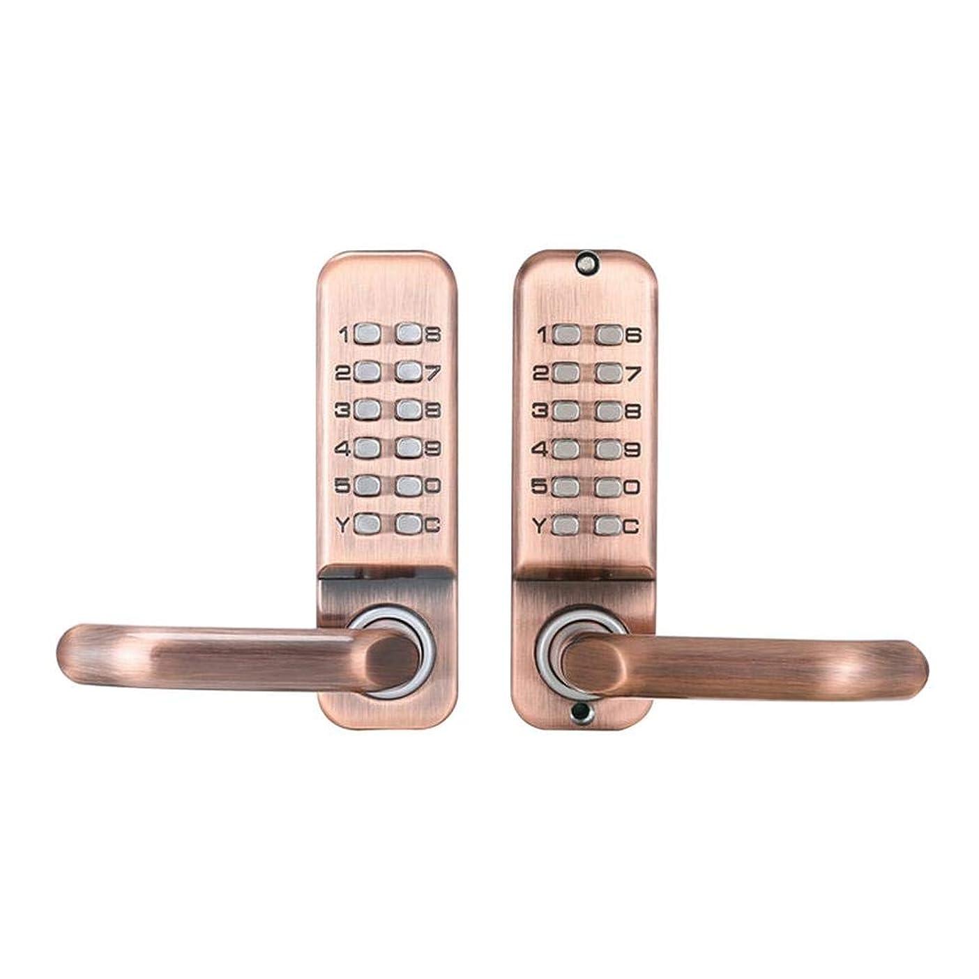 対話パンダ教養があるshuiyxingjp デジタルロック 機械式デジタルドアロック 防水 防錆 スマート ボタン錠 キーレス セキュリティ 防犯対策 ローズゴールド