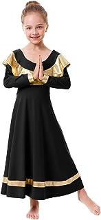 IBAKOM Women Praise Robe Worship Dress Metallic Gold Liturgical Full Length Swing Loose Fit Dancewear Tunic Circle Costume
