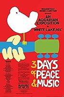 Buyartforless ウッドストック ミュージックアンドアートフェア1969年8月 ラインナップ 36x24 ミュージックアートポスター 壁装飾 3日間の平和と音楽