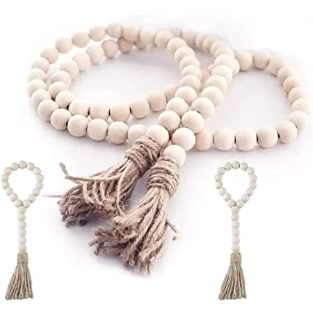 3 Pack Wood Bead Garland Rustic Tassels Farmhouse Beads for Farmhouse Wall Hanging Decor
