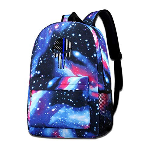 Lawenp USA Military American Skull Flag Galaxy Backpacks for School Travel Business Shopping Work Stylish Bags Casual Daypacks