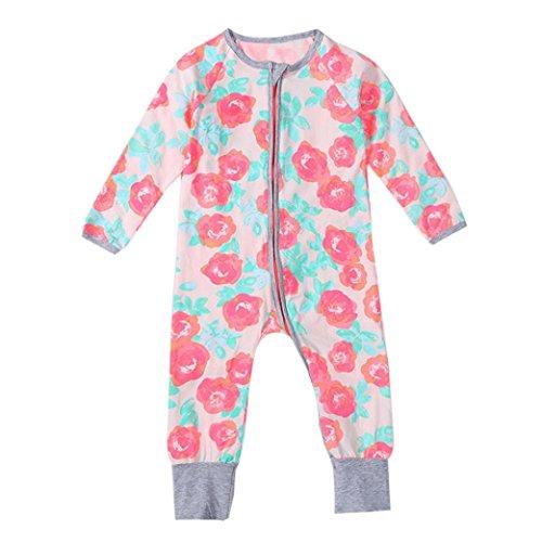 kingko® Newborn Infant Bébés garçons Filles Zipper Imprimer Romper Jumpsuit Vêtements Tenues Convient pour les 0-2 ans bébé (24M)