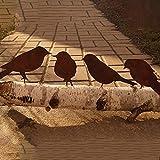 SSLLM Gartenstecker Vögel mit Schraube zum Eindrehen in Holz Outdoor Garten Hinterhof Vintage Deko 4 Metall Vögel Hängedeko Frühlingsdeko Gartendeko für Outdoor Garten Hinterhof (A-Vögel)