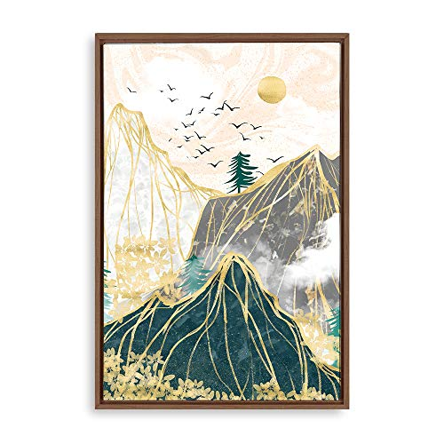 SIGNWIN Framed Canvas Wall Art Golden Forest Canvas Prints Home Artwork Decoration for Living Room,Bedroom - 16x24 inches