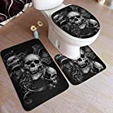 Skulls Day of The Dead Gothic Bathroom Rugs Mats Set 3 Pieces Bath Rugs for Bathroom Washable U-Shaped Contour Rug Mat and Lid Cover 19.5x31.5in