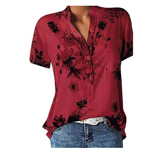 N\P Elegante camisa de mujer de impresión de gran tamaño casual camisa con cuello en V blusa de manga corta - rojo - XX-Large