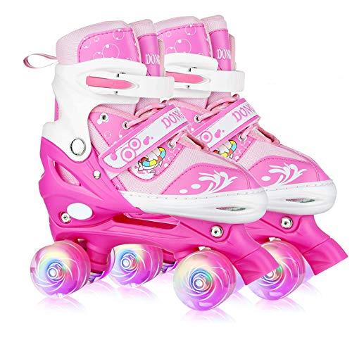 Adjustable Roller Skates for Girls Kids Beginners, Cute Pink 4 Size Roller...