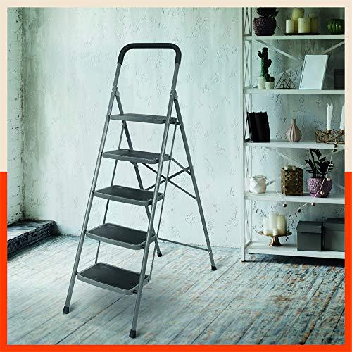 Bathla Boost 5-Step Foldable Steel Ladder with Anti-Slip Steps (Black)