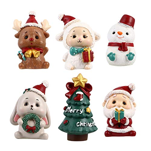 NUOBESTY Christmas Miniatures Figurine Mini Santa Xmas Tree Snowman Reindeer Rabbit Cake Topper Ornament Decorations for Crafts Snow Globes Dollhouse Fairy Garden Advent Calendar Fillers 6pcs
