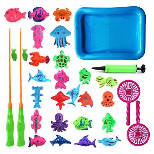 Schimer Magnete Angelspiel Wasserspiel Badewannenspielzeug Lernspiel Angeln Spielzeug, Badespielzeug Wasserdichtes Spielzeug in der Badewanne zum Angelnlernen für Kinder ab 3 Jahre