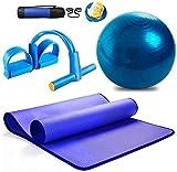 Explosión engrosada Yoga prueba Ball-Yoga Mat Set ribete Principiante antideslizante estera de aptitud tres piezas Suministros de Yoga for el Parto de la bola de la yoga, Pilates, Fitness, Trabajo Emb