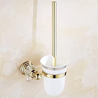 BigBig Home Gold Toilet Brush With Holder, Polished Crystal Ceramic Bathroom Toilet Brush Holder Sets Zine Alloy Wall Mounted