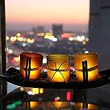 Tiamu Juego de 3 portavelas para velas decorativas con piedras y bandeja, decoración de bares de boda, manualidades, candelabro