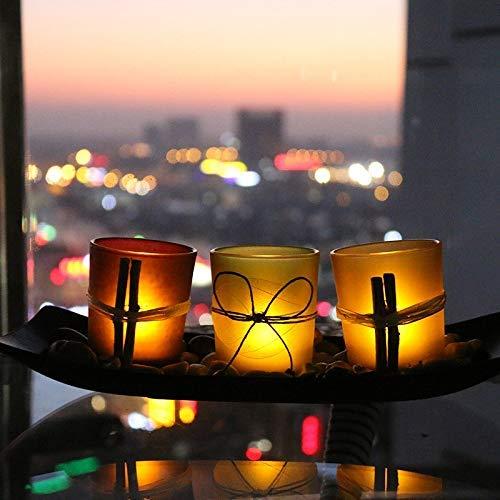 Tiamu Porta Candele Candeliere, 3 Candelabri Decorativi Tealight con vassoio e ciottoli, Decorazione di tavolini da caffè, bar, matrimoni e feste