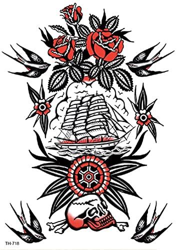 Hermoso Brazo Flor Para Velero 15X21cm-5Pcs Tatuajes Temporales Art Sticker Cover Up Set Lote nico Negro Para Adultos Mujeres Nias Impermeables Extrables No Txicos