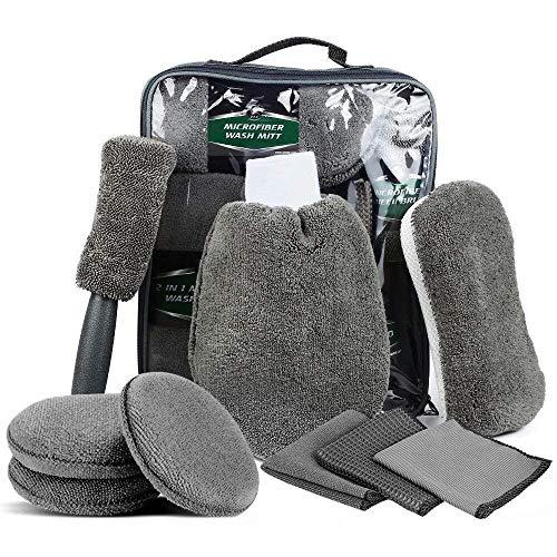 SaponinTree Auto Reinigungs Set 9 PCS, Autowäsche Set mit Reifenbürste, Waschhandschuhen, Schwamm, Waschpads, Mehrzweck-Reinigungstüchern, Autopflege Set für PKW, Motorrad und Küche