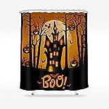 Wasserrhythm Halloween Duschvorhang Kürbis Fledermaus wasserdichter Polyester-Stoff Duschvorhang 182,9 x 182,9 cm