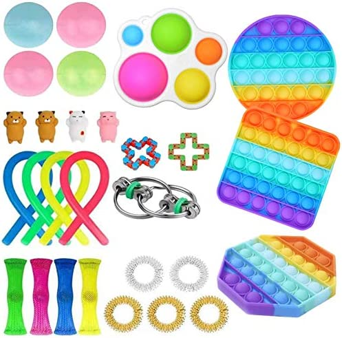Elippeo Fidget Toys Set, Simple Dimple Fidget Toy 25 Packs Cheap, Push Pop Bubble Sensory Toy, Fidgeting Game Kill Time Tools for Kids and Adults (D-2)