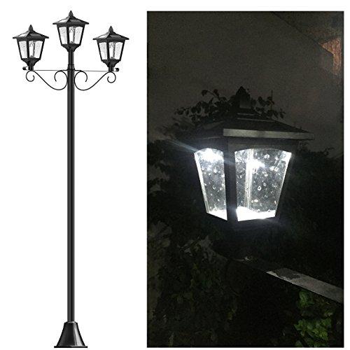 "72"" Street Vintage Outdoor Garden Triple Solar Lamp Post Light Lawn - Adjustable"