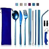 Set di posate da viaggio con custodia, riutilizzabili da campeggio, set di posate portatili in acciaio inox per 1 coltello, forchetta, cucchiaio, bacchette Set da tavola Set di posate blu oceano