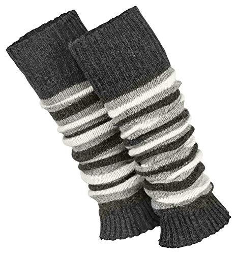Piarini 1 Paar geringelte Stulpen Damen - warme Bein-Stulpen in Strick - Wolle in One-Size Anthrazit dunkelgrau melange