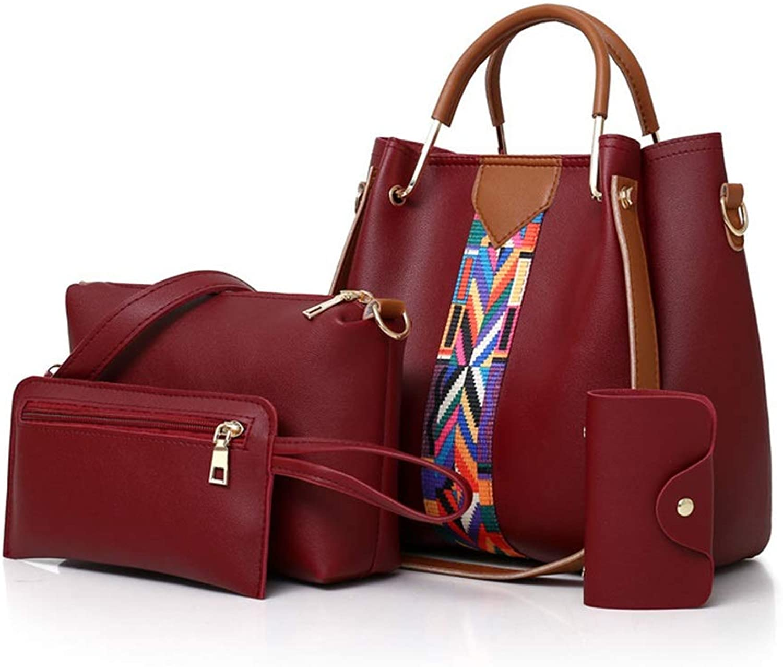 Sturdy Fashian Multi-Piece Women's Handbag Shoulder Handbag Diagonal Cross-Body Handbag Large Capacity (color   Red)