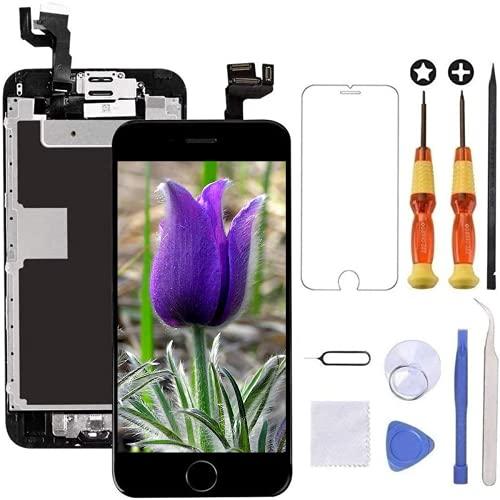 Brinonac Display per iPhone 6s Schermo 4,7 Pollici Schermo LCD Touch Parti di Ricambio con Home Pulsante, Fotocamera, Stanghetta,Sensore Flex Utensili Inclusi (Nero)