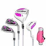 PGM Junior Golf Paket Set, Alter 9–12(130cm-150cm), vier Stücke Golf Clubs mit Tasche Girls'Pink and White with Standard Bag