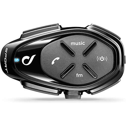 Interphone INTERPHOSPORT Bluetooth Auriculares Manos Libres para Casco Moto Single, Negro