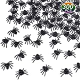TUPARKA 300pcs Arañas Falsas de plástico Mini arañas realistas Accesorios de Broma de Fiesta de Halloween, Negro