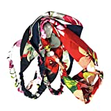 Lurrose 4 unids Boho diademas mujeres vintage flor impresión anudada floral elástico banda para el pelo entrecruzado cruz trenzado abrigo accesorios para el cabello