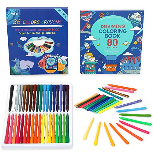 Mibor Crayons Set with Kids Coloring Book - 36 Washable Crayons with 80 Pages Coloring Book, Kids Art Paint Sets, Crayon Painting Supplies for Kids Students Toddlers Beginners Drawing Party Favors