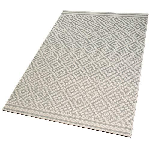 DomDeco In- und Outdoor-Teppich Diamond Raster Ecru L 140 x 200 cm Kunststoff für Innen und Außen