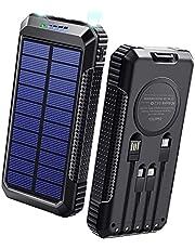 【40800mAh & Qiワイヤレス充電 & PD18W対応】 ソーラーモバイルバッテリー 大容量 ソーラーチャージャー 2021年最新版 急速充電 SCP22.5W対応 PD18W入出力兼用Type-Cポート ソーラー充電器 USB-A+Micro USB+Type-Cなどに適合する4本ケーブル内蔵 4way蓄電 ソーラー モバイルバッテリー 2個LEDライト 防水 耐衝撃 PSE認証済 スマホ充電器 アウトドア/災害用 防災グッズ 各種スマホ/タブレット対応 父の日 ギフト プレゼント DeliToo (Black)