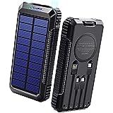 40800mAh & Qiワイヤレス充電 & PD18W対応 ソーラーモバイルバッテリー 大容量 ソーラーチャージャー 急速充電 SCP22.5W対応 PD18W入出力兼用Type-Cポート ソーラー充電器 USB-A+Micro USB+Type-Cなどに適合する4本ケーブル内蔵 4way蓄電 ソーラー モバイルバッテリー 2個LEDライト 防水 耐衝撃 PSE認証済 スマホ充電器 アウトドア/災害用 防災グッズ 各種スマホ/タブレット対応 敬老の日 DeliToo (Black)