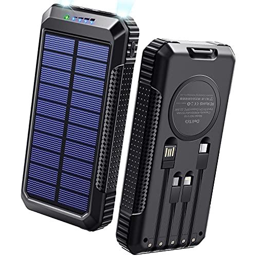 【40800mAh & Qiワイヤレス充電 & PD18W対応】 ソーラーモバイルバッテリー 大容量 ソーラーチャージャー 2021年最新版 急速充電 SCP22.5W対応 PD18W入出力兼用Type-Cポート ソーラー充電器 4本ケーブル内蔵(Lightning+MicroUSB+Type-C+USB-A) 4way蓄電 ソーラー モバイルバッテリー 2個LEDライト 防水 耐衝撃 PSE認証済 スマホ充電器 アウトドア/災害用 防災グッズ iPhone/iPad/Android各種他対応 DeliToo (Black)