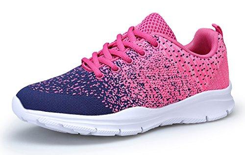 KOUDYEN Laufschuhe Atmungsaktiv Turnschuhe Schnürer Sportschuhe Sneaker für Herren Damen (Pink Blau, 42)