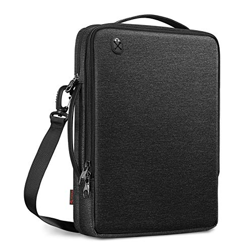 FINPAC 13 Inch Tablet Laptop Shoulder Bag for 13.3 Inch MacBook Pro/Air, 12.9 iPad Pro Bag, Water-Resistant Carrying Bag with Electronics Organizer for Chromebook/Surface Pro/Dell - Black