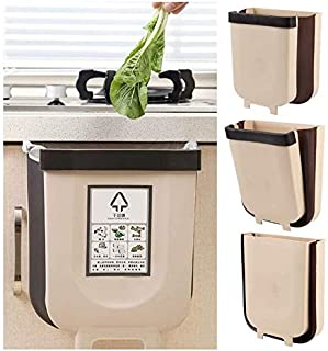 Beauenty Hanging Trash Can 2 Pack,Over The Cabinet Garbage Bin,Collapsible Foldable Door Waste Container,for Kitchen Bathr...