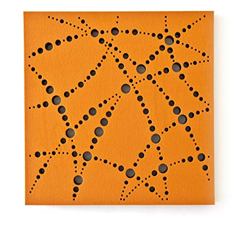 "JOCAVI ATP Basmel MABS Perforated Acoustic Studio Foam Sound Absorbing Panels with Orange Fabric, Professional Noise Dampening Treatment, 23.6"" x 23.6"" x 1.6"" (8-Pack)"