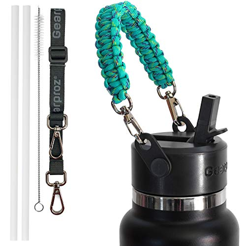 Gearproz Straw Lid + Paracord Handle, 2 Straws, Cleaning Brush, Shoulder Strap (6 pcs Total) Compatible with Hydro Flask and Camelbak Wide Mouth Bottle (Mint)