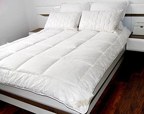Piumino in pura lana merino, piumone naturale, 10,5 tog, 500 g/mq, trapunta, Lana, bianco,...