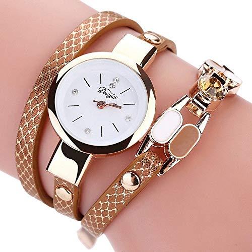 LD Retro Damen Vintage Uhr Armbanduhr Quarzuhr Armband Watch Stein Pu Leder