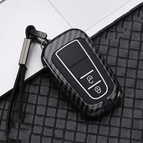 Roki-X Aleación galvanizada Adecuada para Cubierta de Llave de automóvil Funda para Toyota Prius Camry Corolla C-HR CHR RAV4 Accesorios Prado LEVÉSCULOS Proteger (Color Name : A Carbon Black)