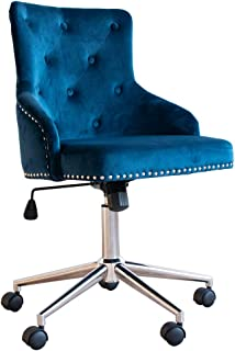 Irene House Modern Mid-Back Tufted Velvet Fabric Computer Desk Chair Swivel Adjustable Accent Home Office Task Chair Executive Chair with Soft Seat (Blue)