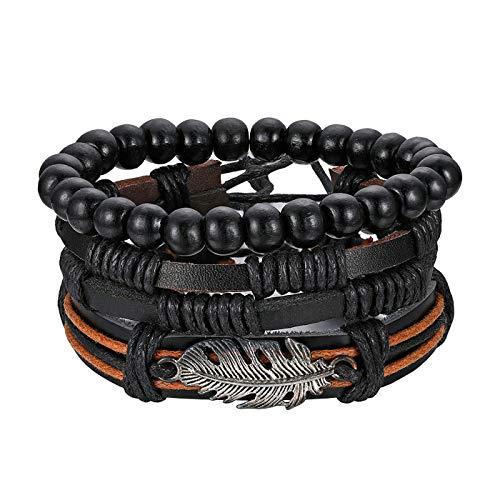 JewelryWe Vintage Wrap Bracelet Mixed Handmade Braided Leather Wristbands and Wood Beads Bracelet Set for Men Women